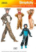 2855 Simplicity Pattern: Child's, Girls' and Boys' Gorilla, Lion, Bear and Cat Costumes